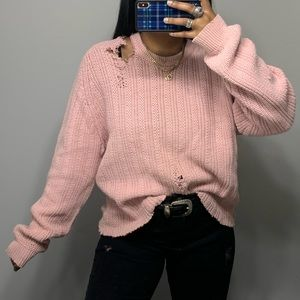 Vintage Boho Baggy Travel Distressed Sweater SZ XL